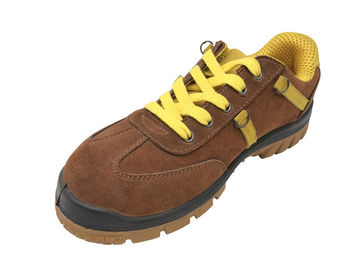 China Stitched Logo Lace Up Work Shoes , Mens Brown Casual Shoes Slip Resistance distributor