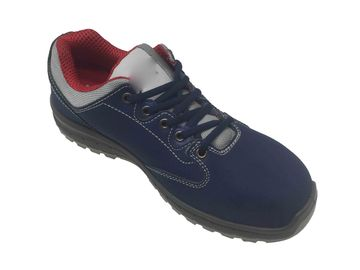 China Calfskin Leather Rubber Sole Safety Shoes , Comfortable Steel Toe Shoes Topline Binding distributor