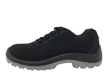 China Lapped Seam Black Work Shoes Lining Stamp With Machine Sewn Construction distributor