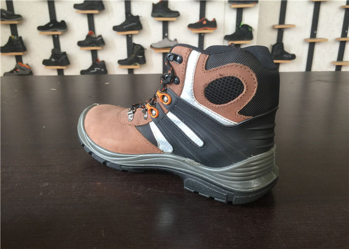 Breathable Camel High Cut Work Boots , Waterproof Steel Toe Boots For Wide Feet