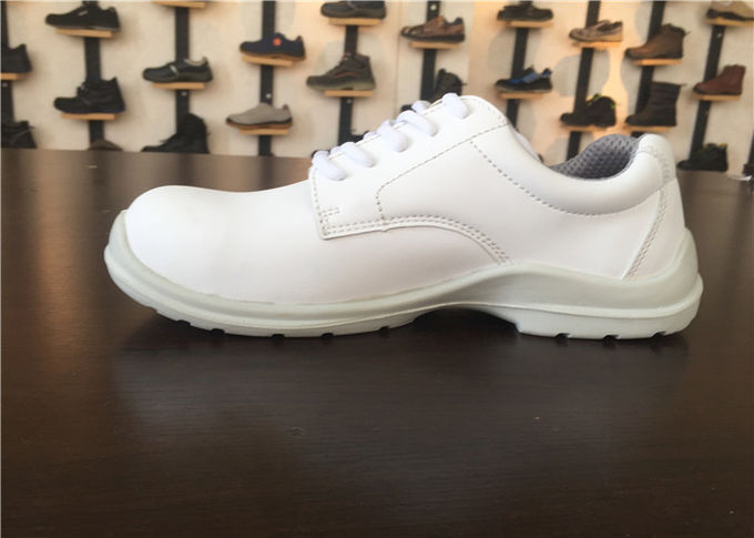 Pure White Upper Ladies Safety Shoes Anti Smash With Raw Eyelet CE Approved