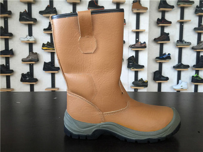 Tan Polo Waterproof Leather Winter Boots , Water Repellent High Cut Work Boots